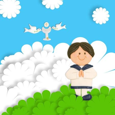 primera comunion: primera comunión tarjeta gracioso niño moreno, cáliz y la paloma