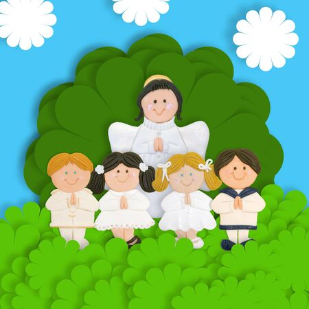 first day: first communion four children and Angel in the meadow