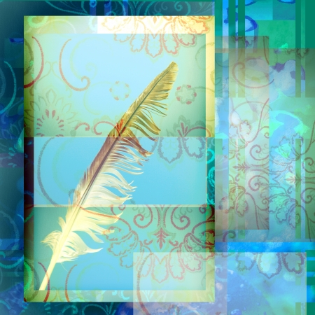 write ancient bird feather on blue background decorated