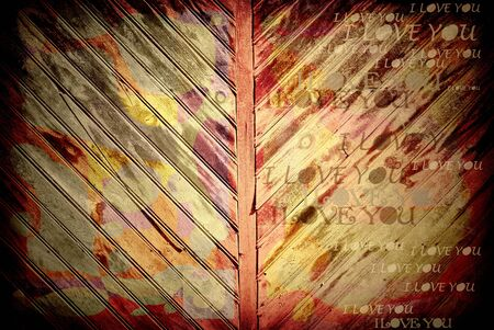 grunge wooden wall with love text photo