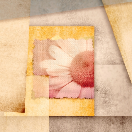 greeting card with daisies and abstracts paper background
