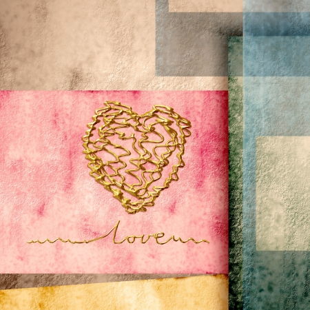 golden heart I love you, in geometric Scraps colors photo