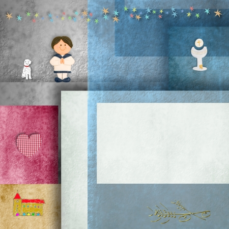 communion invitation sailor boy, chalice ,church, puppy and empty frame for photo or text