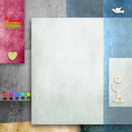 premi�re communion: Premi�re carte d'invitation communion avec les symboles religieux et l'espace vide pour la photo ou texte