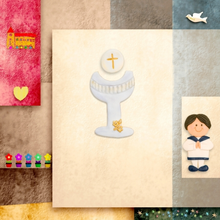 first Holy communion invitation reminder, sailor boy and blank space for text photo