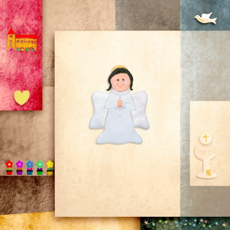 Reminder card, cute angel first communion, and religious symbols photo