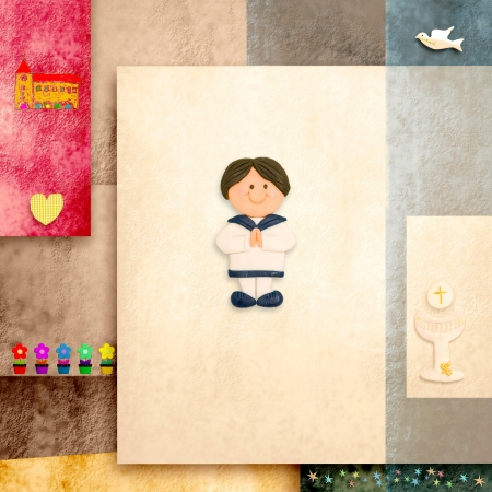 holy communion invitation cute sailor boy and blank space for text photo