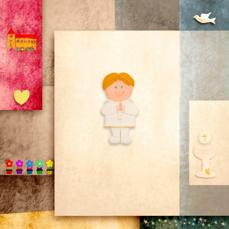 communion wafer: holy communion invitation cute blonde boy and blank space for text Stock Photo