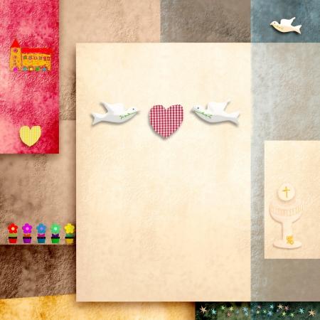 comunion: santa comuni�n invitaci�n linda paloma y el coraz�n y en el espacio en blanco para el texto o la foto Foto de archivo