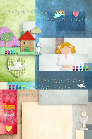 colorful and cheerful invitation card communion, cute blonde girl and religious symbols, blank for name and date photo
