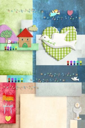 prima comunione: colorato e allegro invito comunione, colomba e simboli religiosi, in bianco per il nome e la data di