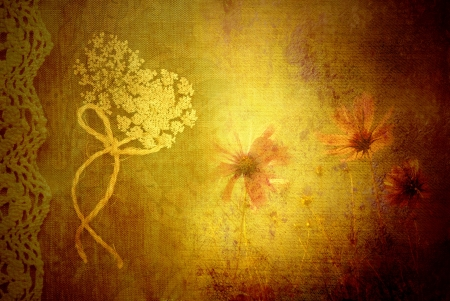 wildflowers background texture of fabric and old lace photo
