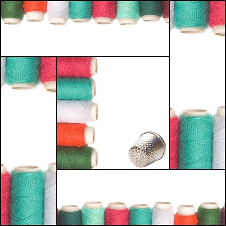 pinhead: sewing card collage, colored thread and thimble on white background