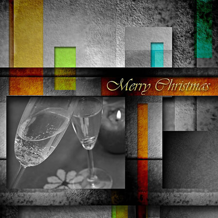 modern christmas card, toast with two glasses of champagne and geometric background with text photo