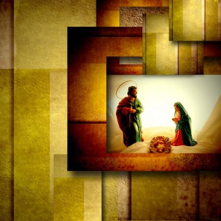 heilige familie: Weihnachtskarte heilige Familie, modern geometrischen Hintergrund in gold
