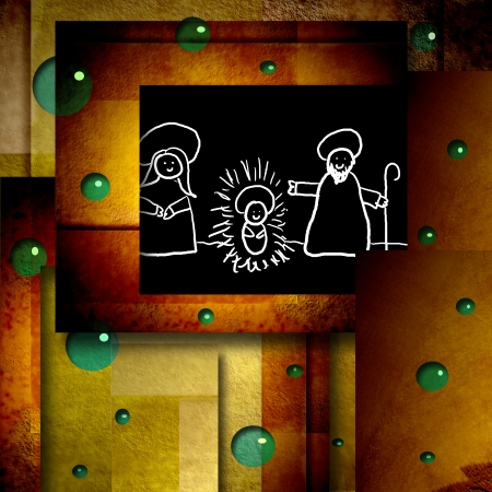funny Christmas card drawing holy family in modern geometric background photo