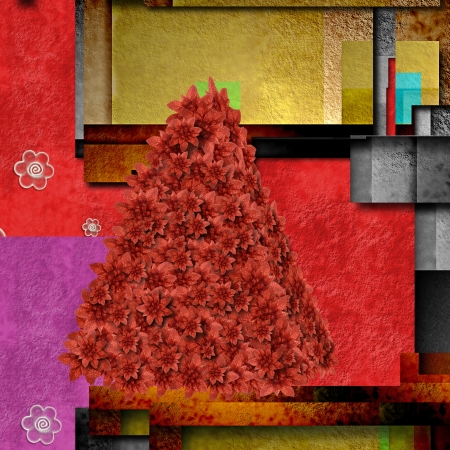 Christmas  tree modern geometric colorful background photo