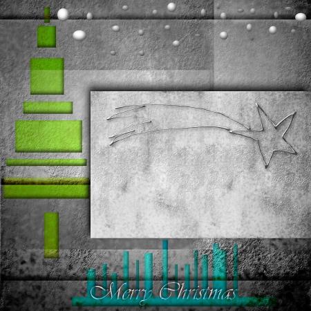 estrella de belen: moderna tarjeta de Navidad, abetos y la estrella de Belén en el fondo gris Foto de archivo