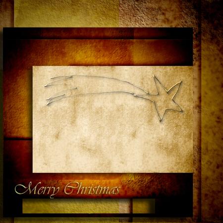 estrella de belen: Fondo de navidad, estrella de belen en tonos marrones de papel Foto de archivo