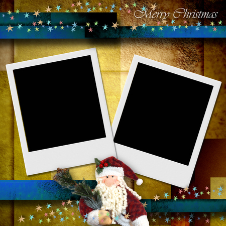 photo frame merry christmas card, empty two photos and Santa photo