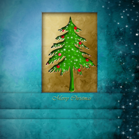 merry christmas card, fir on blue background with stars and empty space for message photo