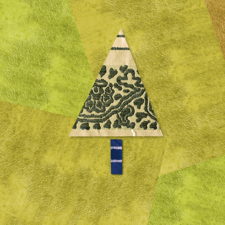 funny Christmas cards, tree made from pieces of fabric and paper in yellow tone photo