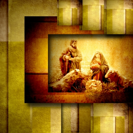 marry christmas: Religious Christmas Cards Nativiy Scene in golden geometric background Stock Photo