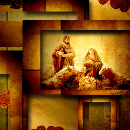 Nativity Scene Christmas greeting card, in background elegant gold and brown tones photo