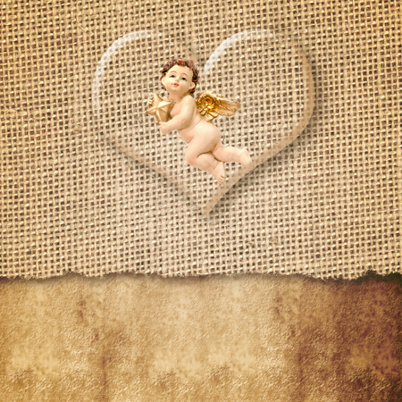 Christmas Cards, Angel and transparent heart sackcloth, country style, with copy space for message photo