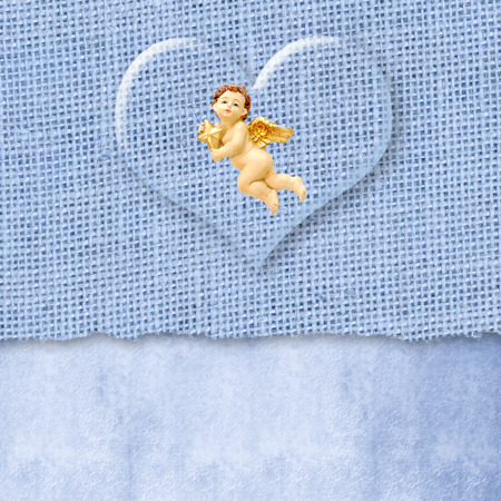 angel in a transparent heart burlap blue background with space for write photo