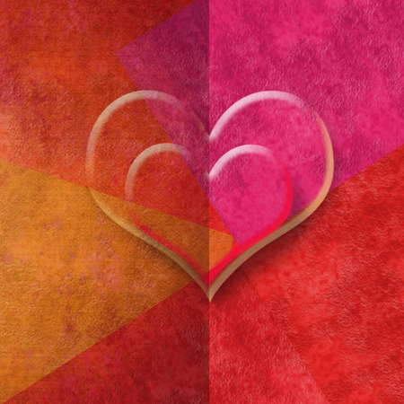 two hearts romantic card in red tones, copy space for message or write photo