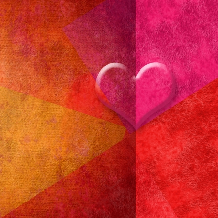 red background valentines card heart in red tones with copy espace for message photo