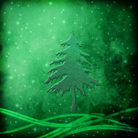 fir green metal Christmas Night, Greeting card background photo