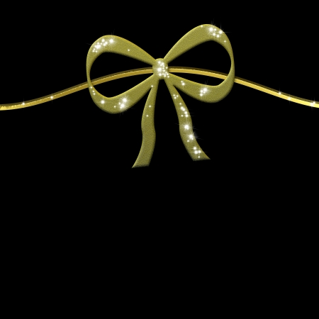 gift card bright metallic gold ribbon on black background with empty space for writing photo