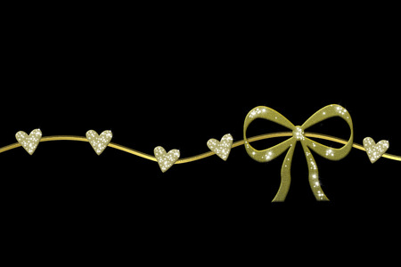 golden wreath with gift bow and glossy hearts isolated in black background and copy space photo