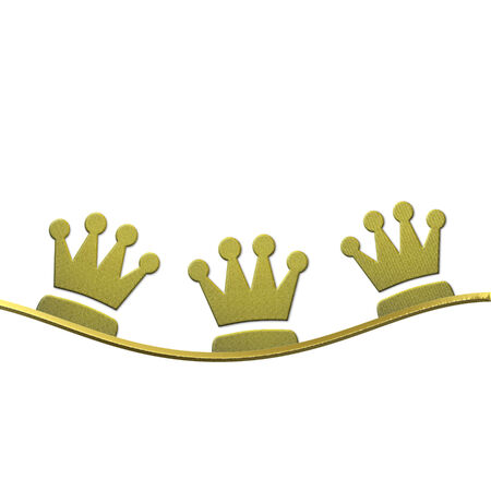 Christmas background, crowns of gold three wise men isolated on white background with space for text photo