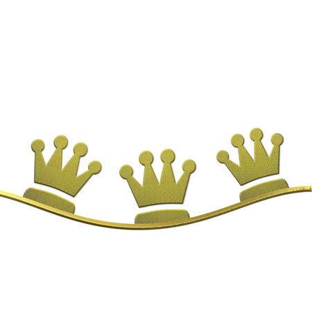 wise men: Natale sfondo, corone di oro tre saggi isolato su sfondo bianco con lo spazio per il testo Archivio Fotografico