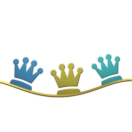 trois: Fond de No�l, des couronnes d'or et les couleurs trois sages isol� sur fond blanc avec espace pour le texte