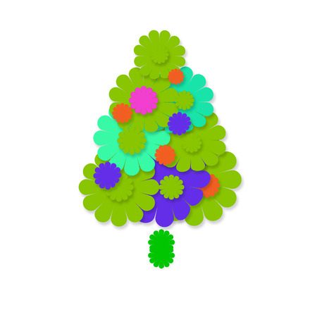 flowerpower: christmas cheerful hippie, tree colorful flowers isolated on white background with copy space