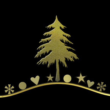 elegant Christmas card, fir and gold ornaments on black background with blank space for writing photo
