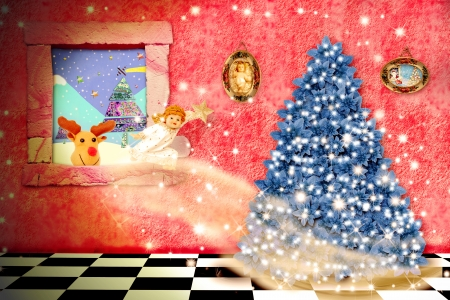 child's: cheerful child christmas magical scene,an angel coming through the window to put the star on the tree and the Reindeer by santa claus looking out the window