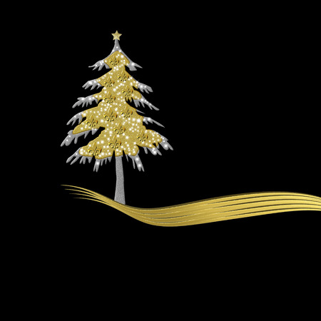 lys: Elegant Christmas card in gold and black, tree ornament with fleur de lys Stock Photo