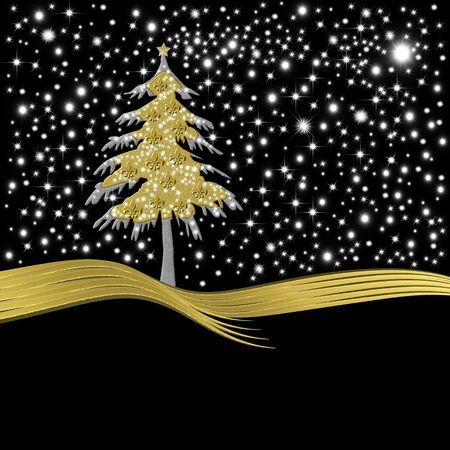 Christmas greeting card gold tree ornate with golden fleur-de-lis heraldic symbol black background with stars photo