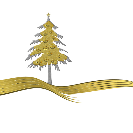 fleurdelis: Christmas greeting card gold tree ornate with golden fleur-de-lis heraldic symbol isolated white background with copy space Stock Photo