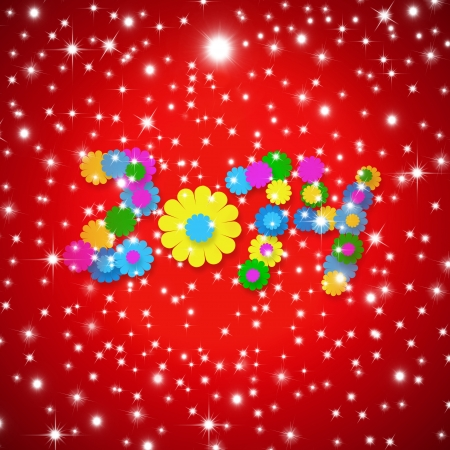 Cheerful Christmas Greeting card 2014 new year numbers made with multicolored flowers on red starry background photo
