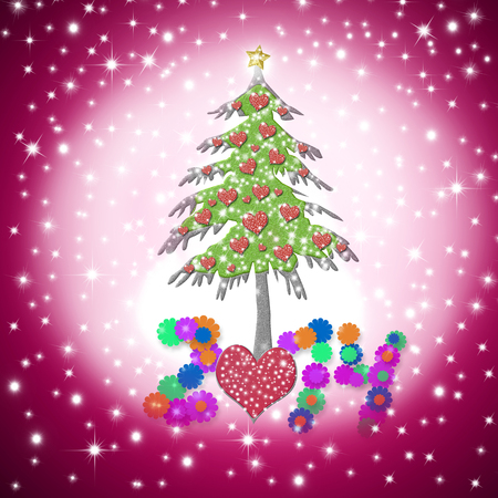Lovely Christmas greeting card 2014 with shiny hearts tree on starry pink sky background photo
