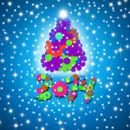 colorful and fun Christmas Card 2014 year tree and children made flowers on blue background with stars photo