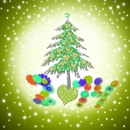 Christmas card 2014, funny love tree with hearts in starry background photo
