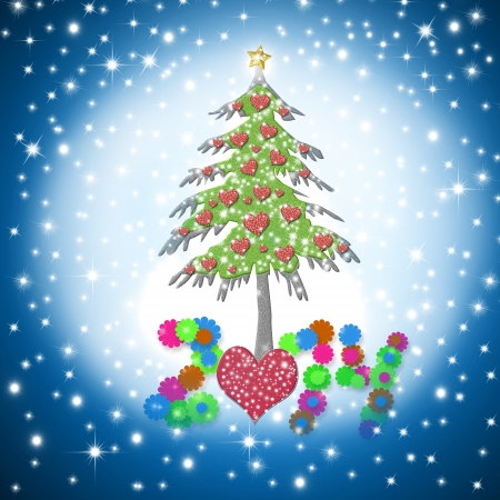 beautiful Christmas card 2014 with shiny hearts tree on starry sky background photo
