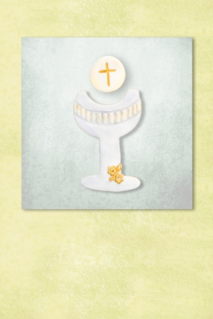 liturgy: Cute chalice celebrating first communion invitation card, Background with copy space.